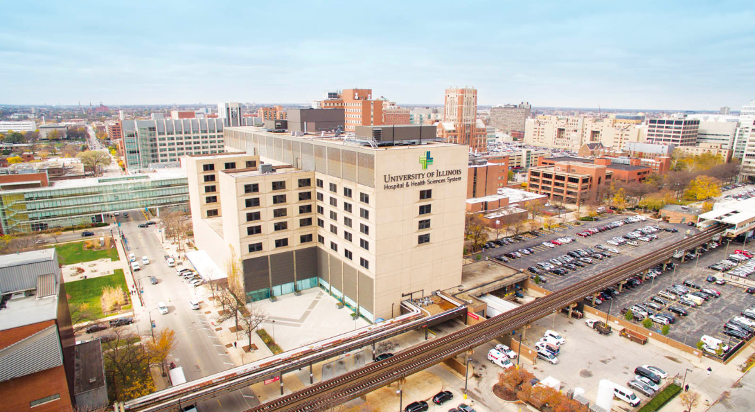 An aerial view of the UI Health campus at UIC.