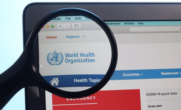 A screenshot of the World Health Organization website.