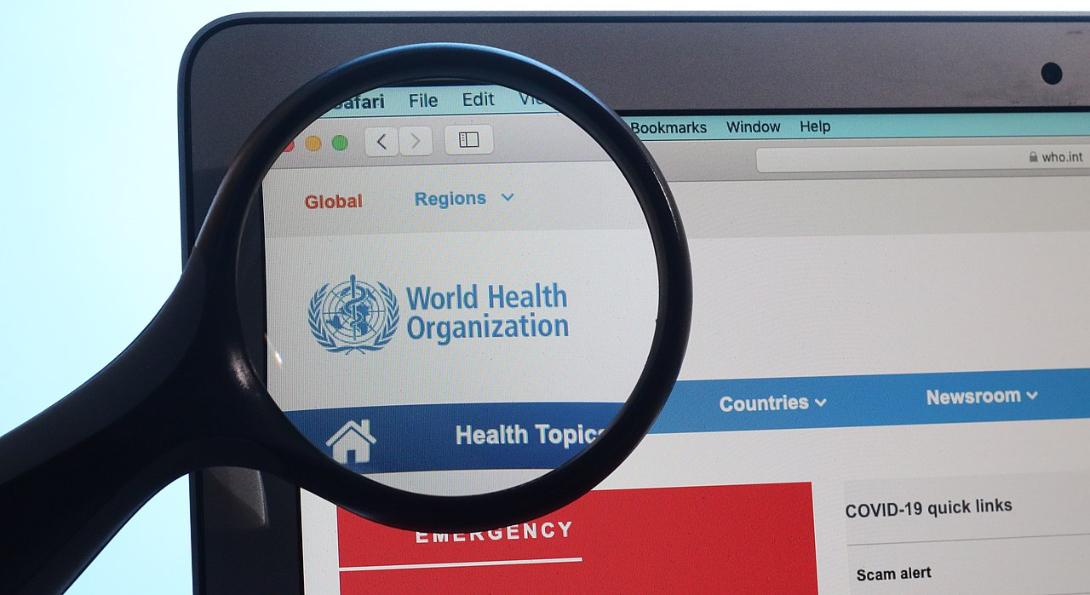 A screenshot of the World Health Organization website.