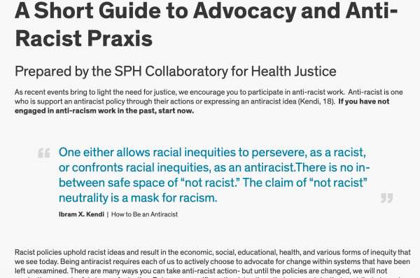 Webpage presenting the information from the guide to anti-racist praxis