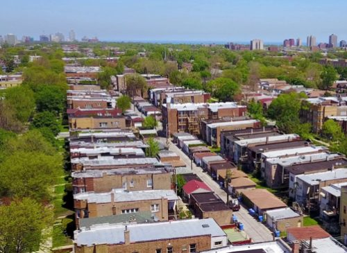 An aerial view of a Chicago neighborhood.