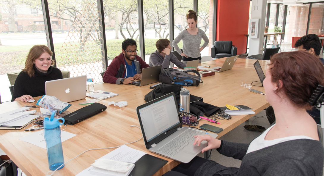 Students on the interdisciplinary product development team work in the UIC Innovation Center.
