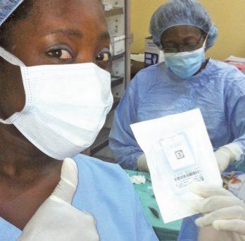 Mary Otoo observes an ocular surgery in Ghana.