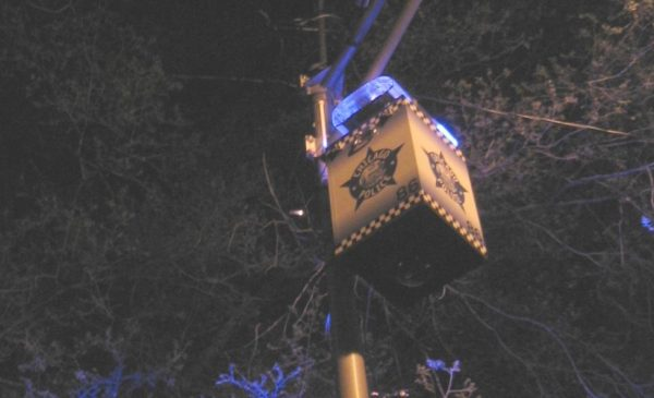 A Chicago police remote camera, mounted on a light pole at an intersection in the city.