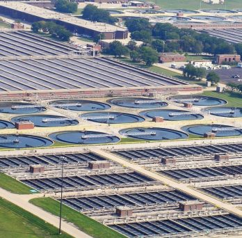 An aerial view of the Stickney Water Reclamation Plant in Cicero, Illinois.