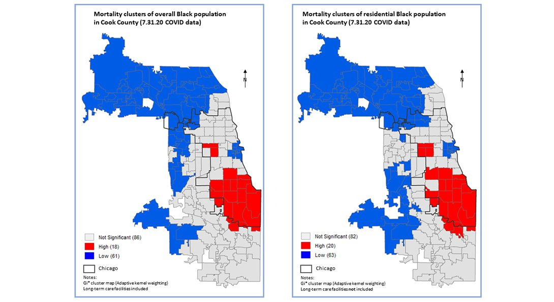 Maps with a comparison of mortality clusters (hot spots) for the overall Black population and the residential Black population by ZIP code.