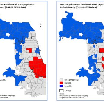 Maps comparing the geographic locations of Black mortality from COVID-19 in Chicago, comparing household populations versus long-term care facility populations.