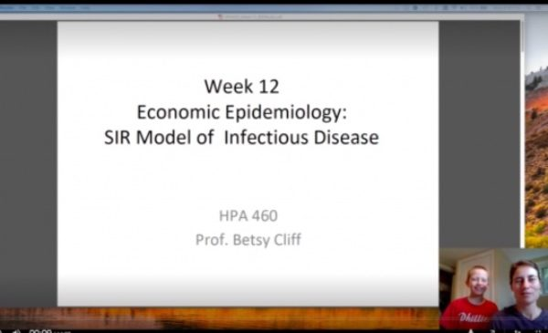 A screenshot of an online class session introduced on video by Betsy Cliff's son.