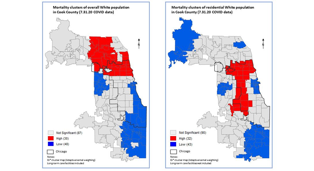 Maps with a comparison of mortality clusters (hot spots) for the overall White population and the residential White population by ZIP code.