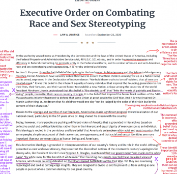 Trump's Executive Order is annotated in red and purple writing to correct misinformation.