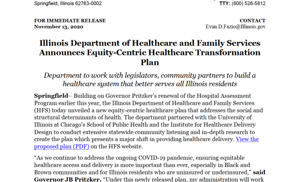 HFS Press Release on Transformation for Health-Equity