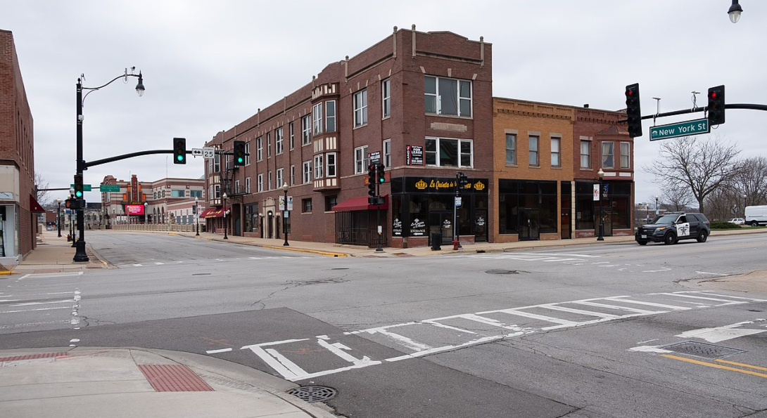 An empty downtown intersection in Aurora, Illinois.