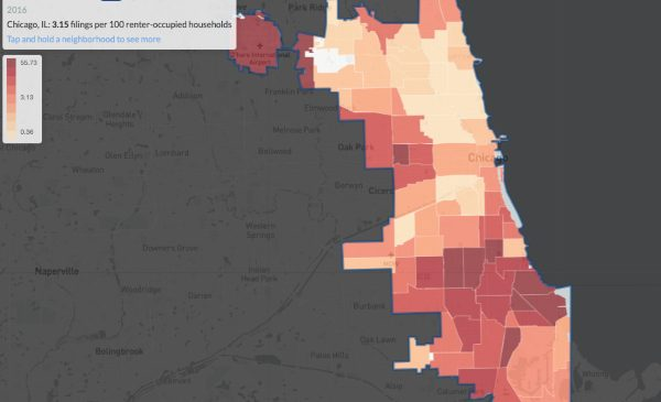 A map showing the rate of evictions in Chicago by neighborhood area.