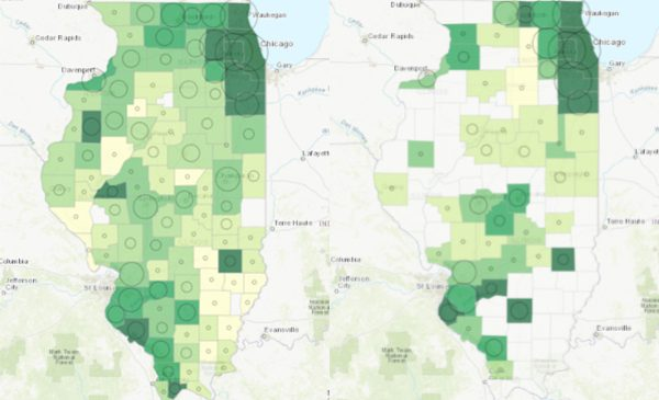 Maps of Illinois showing COVID-19 cases and deaths by county across Illinois.