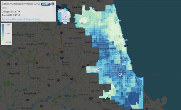 A map showing social vulnerability indexes by Chicago census tract.
