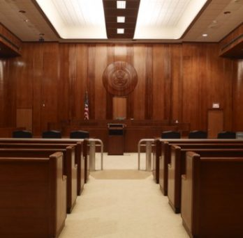 An empty courtroom.
