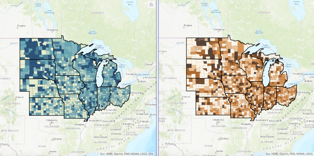 A map showing cumulative COVID-19 deaths across Midwest states week-by-week during the pandemic.