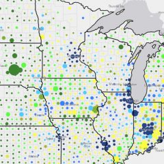 A map of the Midwest showing data points by county.