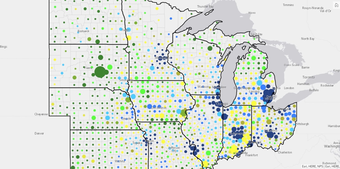 A map of fatality rates by wave, as compared with rural and urban areas of Midwest states.