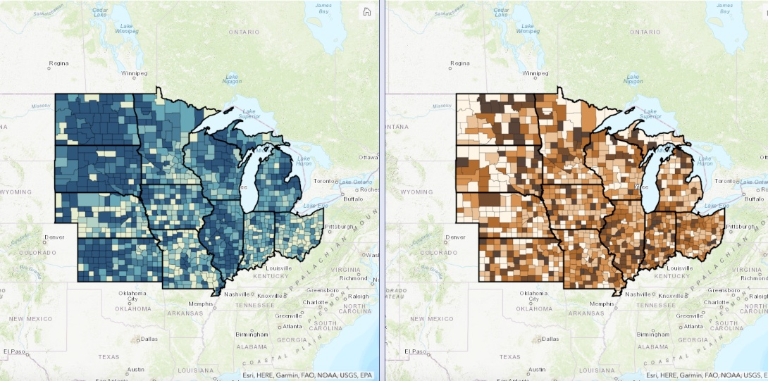 A map showing fatality rates by county in Midwest states across two distinct waves of the COVID-19 pandemic.