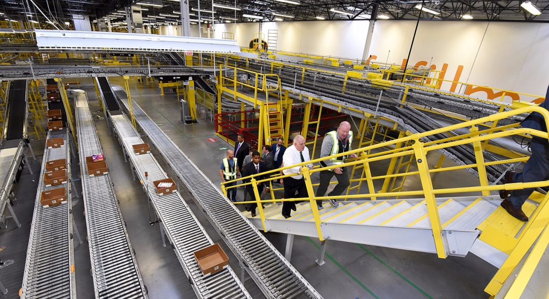 Conveyor belts at an Amazon warehouse in Baltimore, Maryland.