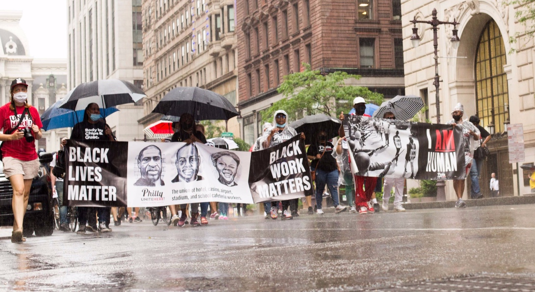 Black workers march in Philadelphia calling for justice for workers and George Floyd in the wake of his murder.