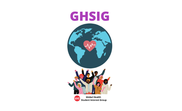 The logo for the Global Health Student Interest Group, with the group name written on a blue globe.