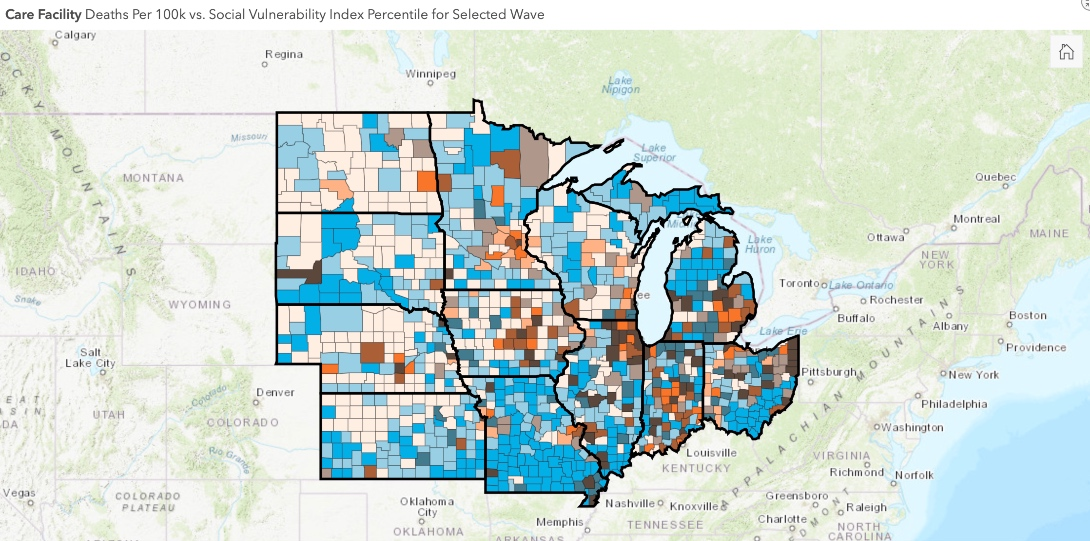A map showing the first wave of nursing facility deaths during the COVID-19 pandemic in the Midwest.