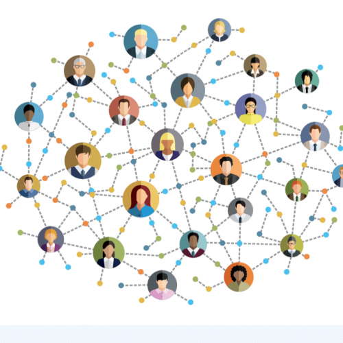 Graphic connecting multiple people to depict disease transmission.