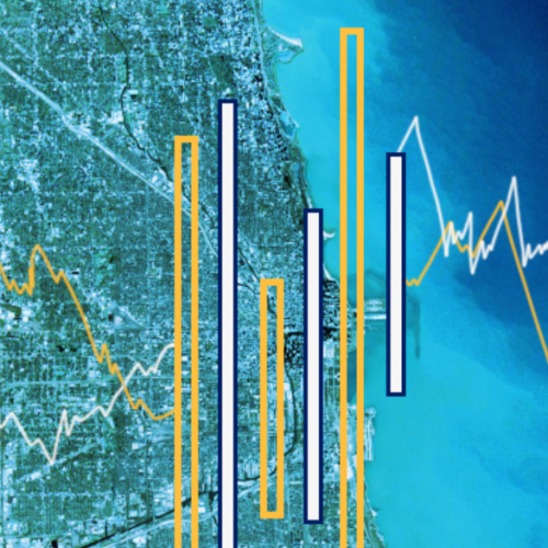 Map of Chicago superimposed with bar charts.