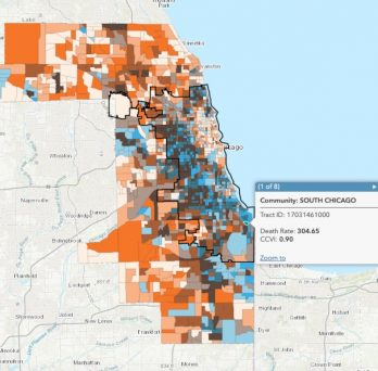 A map showing a COVID-19 community vulnerability index and COVID-19 deaths by census tracts in Cook County.