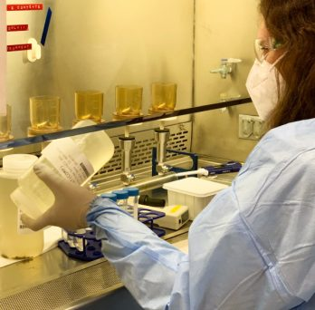 A researcher at SPH's water lab analyzes a wastewater sample from the Cook County Jail.