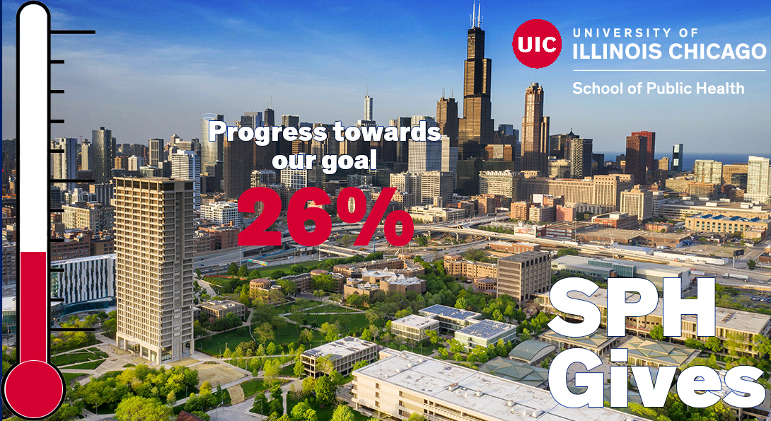 An aerial view of the Chicago skyline, with the UIC campus in the foreground.  The image has a thermometer overlaid on it displaying the School's progress toward the giving campaign.  Current progress is at 26 percent.