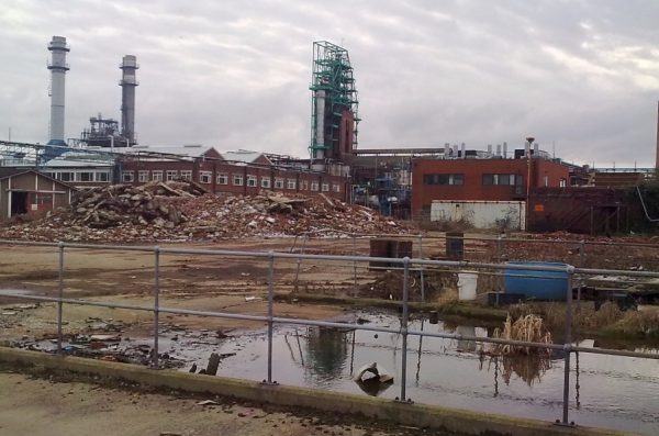A former chemical manufacturing site in West Yorkshire, United Kingdom that is now a brownfield.