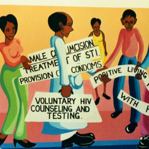 A mural shows strategies for preventing HIV transmission.