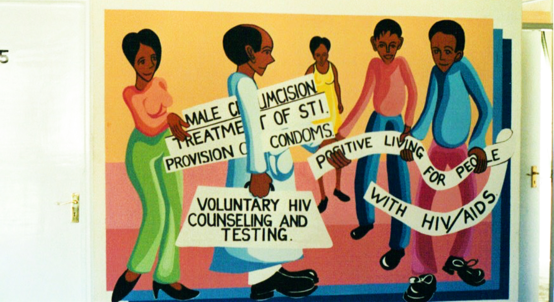 A mural promotes HIV prevention strategies including male medical circumcision.