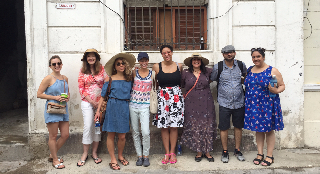 UIC School of Public Health students engaged in fieldwork in Cuba pose for a photo together.
