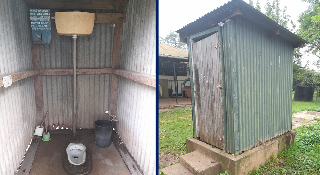 The interior and exterior of a clean, healthy latrine in western Kenya.