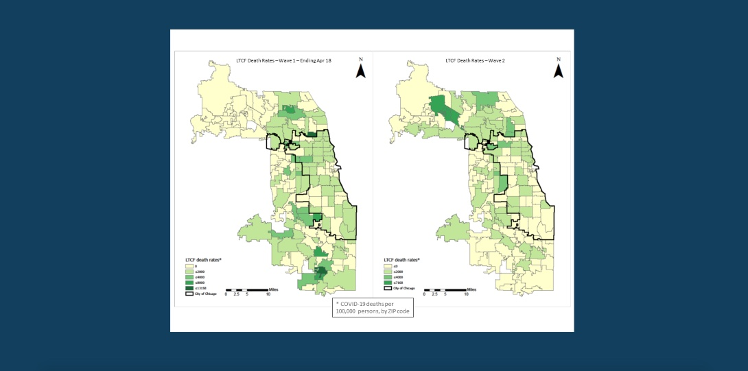 Two maps show the volume of deaths per zip code in Cook County for people living in long term care facilities during the first and second waves of the COVID-19 pandemic.