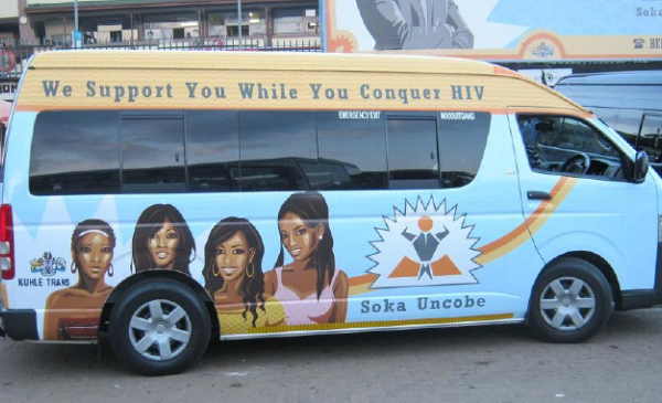 A van is painted with messages that promote voluntary male medical circumcision as a way to prevent HIV.