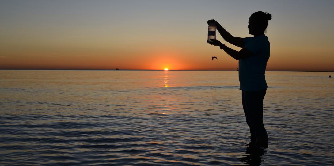 A School of Public Health student collects a water sample from Lake Michigan.
