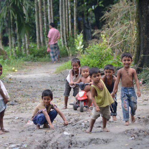 Children play in a rural street in Bangladesh
