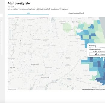 A screenshot of a map within the Chicago Health Atlas that shows rates of adult obesity across Chicago.