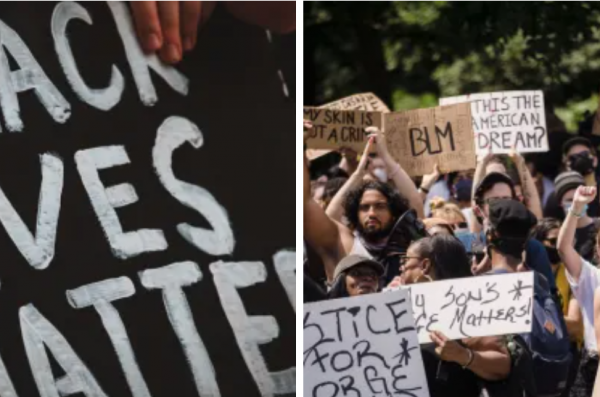 close-up of BLM protest sign & BLM activists at a protest
