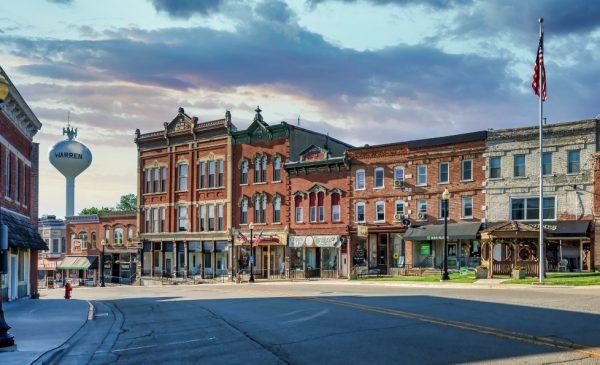Buildings line Main Street in the town of Warren, Illinois.