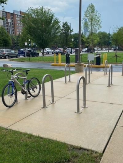 Bike racks located outside the SPHPI building.