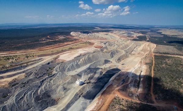An aerial view of a strip coal mine.