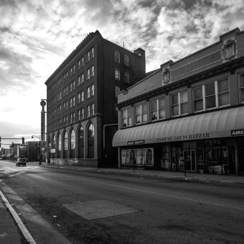 A downtown street in the city of East St. Louis, Illinois.