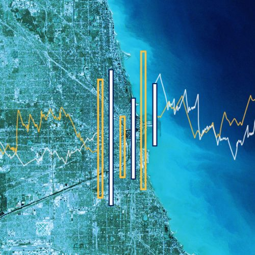 A satellite image of Chicago, with bar and line graphs overlaid on the image to signify data collection and access for the Chicagoland area.