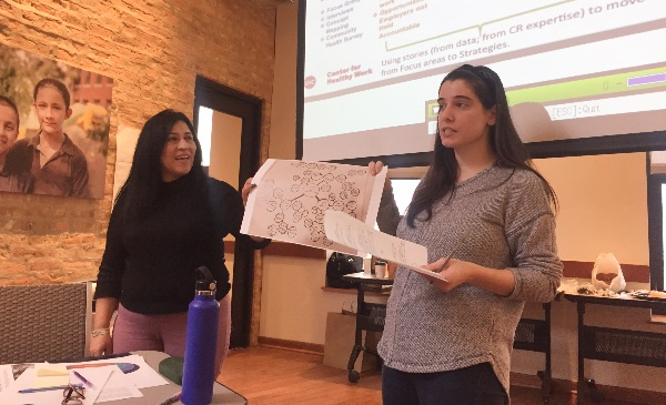 Two SPH students present to an assembled group.